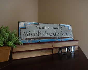 Vintage Middishade Suite Aluminium Advertisement Sign, Old Store Display,  Vintage Home Decor, Metal
