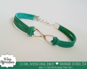 Bridesmaids Bracelet, GENUINE LEATHER Infinity Bracelet, Leather Cord Infinity Bracelet, Infinity Charm Bracelet, Karma, Figure 8
