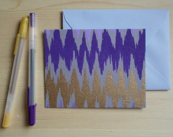 Purple & Gold Ikat - Blank Stationary Set of 8
