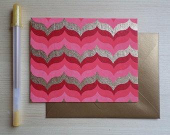Pink & Gold Ribbon - Blank Stationary Set of 8