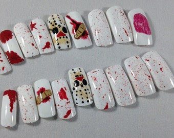 press on nails, press on nails, fake nails, glue on nails, horror movie,blood nails, Halloween theme,nails for horror lovers,false nails