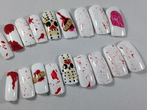 press on nails press on nails fake nails glue on nails horror movieblood nails halloween themenails for horror loversfalse nails from dopenailart on