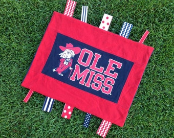 Ole Miss Sensory Baby Blanket!  The perfect gift for your littlest fan or spirit rally rag for the ultimate fan!