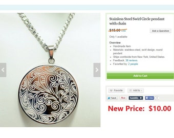 Stainless Steel Swirl Circle pendant with chain