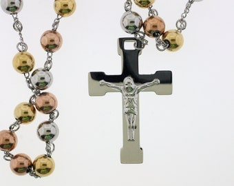"Stainless Steel Tri-Color Rosary Beads with Crucifix 32"" in length no stone"