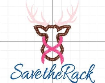 Save the Rack Breast Cancer Awareness Applique Design Machine Embroidery Pattern INSTANT DOWNLOAD Digital File Support Ribbon Hope Deer Pink