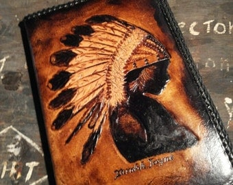 Handmade hand tooled leather Journal cover