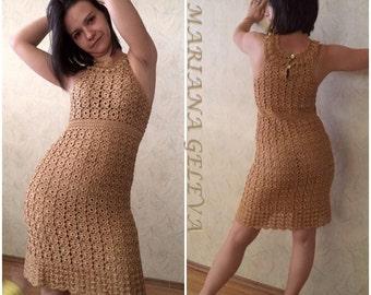 FEMMES élégante et belle robe / COLOR GOLD /  crochet /sur commande