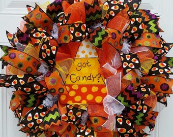 Deco Mesh Halloween Wreath-Candy Corn Wreath-Halloween Wreath-Halloween Decor-Fall Wreath-Halloween Door Wreath-Fall Decor-Door Wreath
