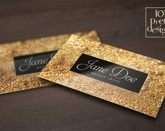 Gold glitter business card template makeup artist business card design gold business card printable, black and gold business cards elegant