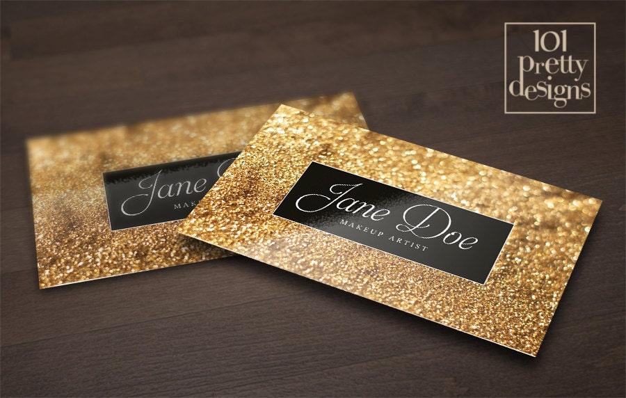 Gold glitter business card template makeup artist business
