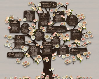 Wedding table plan printable tree seating plan, 18x24 DIY seating chart wedding Ideas, wood effect, print + trim, 4 tree backgrounds
