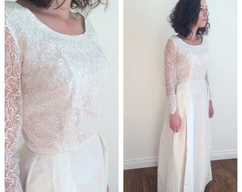 1950s Old Hollywood Wedding Dress with Beading and Grace Kelly Skirt Size Medium | 50s Wedding Dress 26 inch Waist