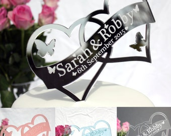 Double Heart Shaped Wedding Cake Topper with Butterflies - personalised cake decoration for engagement,anniversary or wedding
