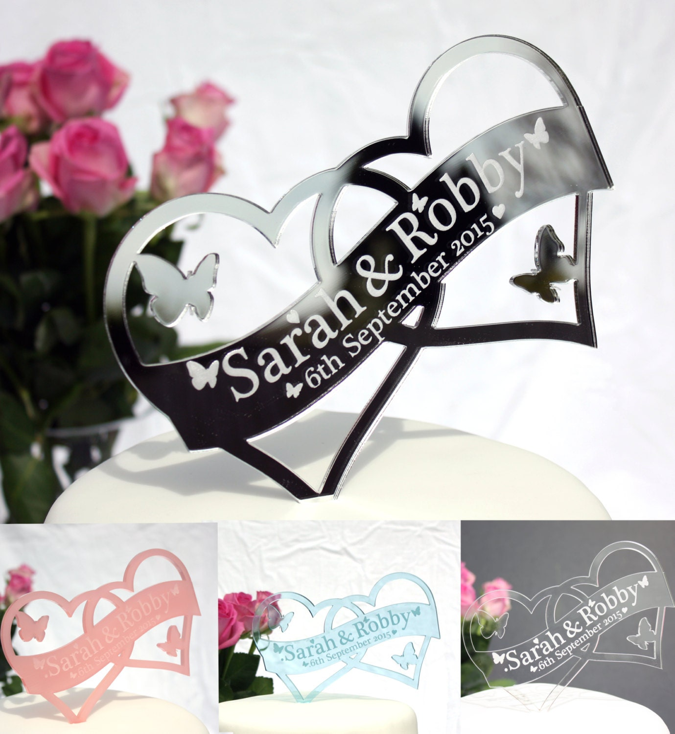 Double heart shaped wedding cake topper personalised