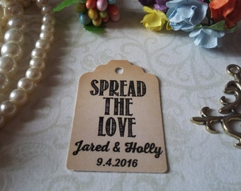 Spread The Love Tag-Favor Gift Tags -Wedding Favors Personalized Wedding Tag, Wedding Favor Tag. Set of 25 to 300 pieces, Mini tag