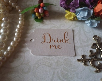 shimmer pearl tag Drink me Tags - Alice in Wonderland drink me Tags - Tea Party or Wedding Tags - Set of 25 to 300 pieces Mini tag