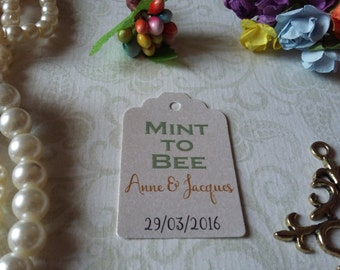 shimmer pearl Mint to bee Tags-Wedding Favors-Bridal Shower favors-Wedding Coffee Favors-Love is Sweet Tags-Set of 25 to 300 pieces Mini tag