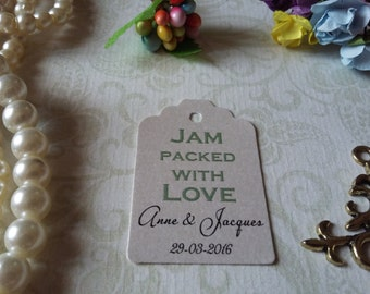 shimmer pearl tags Jam packed with love tags - Wedding favor tag - Personalized wedding tag - Set of 25 to 300 pieces Mini tag