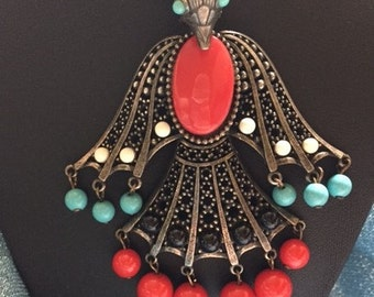 Aztec Tribal Warrior Phoenix Vintage Bird Pendant and Necklace