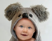 Koala Bear, Personalized Hooded Baby Towel, Fleece Applique and Trim, Minky Shaggy Cuddle Ears, Baby Gift, 12 - 18 Months, 18 Month - 3 Year