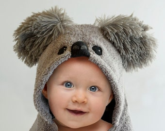 Koala Bear, Personalized Hooded Baby Towel, Minky Shaggy Cuddle Ears, Baby Gift, 12 - 18 Months, 18 Month - 3 Year