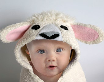 Lamb Baby Hooded Towel, Sheep Hooded Towel, Personalized Baby Towel, Baby Gift, Fleece Applique, 12 - 18 Months, 18 Month - 3 Year
