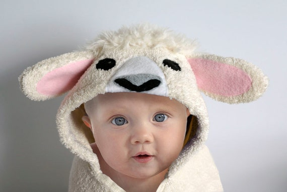 Hooded towel lamb sheep baby gift animal towel like this item negle Choice Image