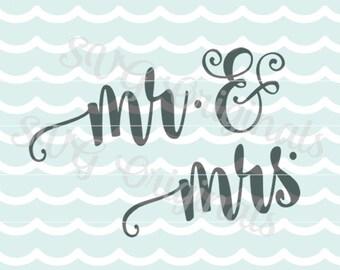 Mr. & Mrs. cutting art SVG Wedding vector File. Many fun uses! Invitations, etc.! Mr. and Mrs. Wedding