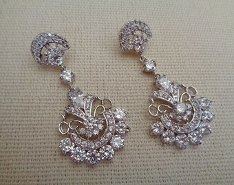Luxury art deco sparkling cubic zirconia rhinestone bridal wedding earrings silver colour 1920's 1930's Gatsby statement