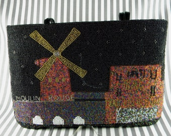 Beaded Handbag Purse with Moulin Rouge