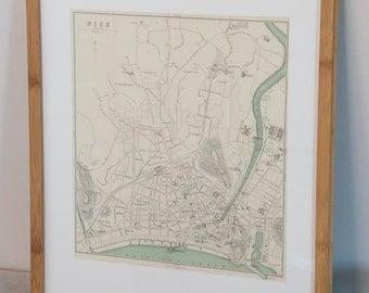 Framed 1905 Nice France Antique Map