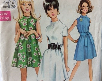 Simplicity 7724 misses tent dress size 14 bust 36 vintage 1960's sewing pattern