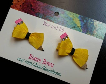 Tiny Pencil Sculpture... Hair bows... Clips... Back to School...