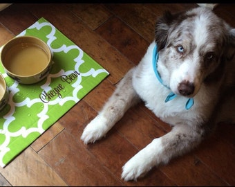 Dog Placemat || Personalized Blue Green Quatrefoil Bowl Mat || Waterproof Pet Gift || Feeding Station Custom by Three Spoiled Dogs