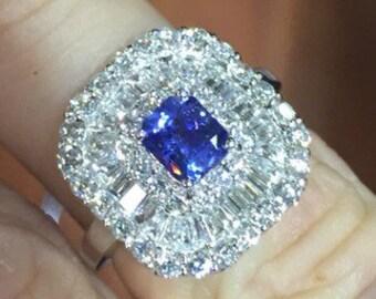 Sapphire Diamond Ring 18K