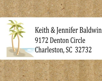 Personalized Tropical Address Labels - White - 90 Labels