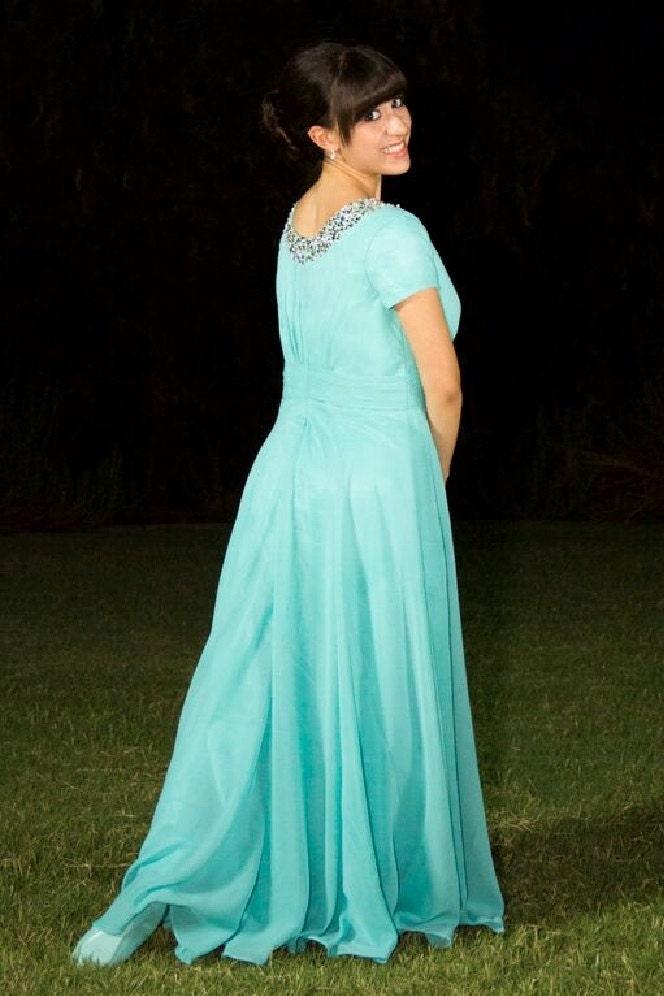 Tiffany Modest Blue Prom Dress Modest Prom Dress By