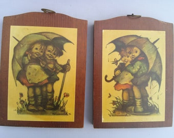 "Vintage Hummel Wall Hanging Wooden Placque Set of 2 ""Umbrella Children"" in Sunshine and Rainy Day by Manchester Wood Handmade in Vermont."