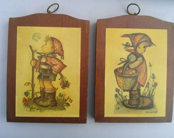 Vintage Hummel Wooden Wall Hangings Bashful Boy and Girl with Flowers. Manchester Wood in Vermont Hummel Children Plaques Decor.