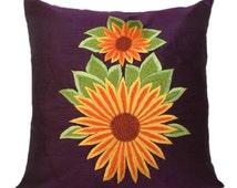 Sunflower Décor, Purple Decorative pillow cover, Sunflower Pillow, Purple Accent Pillow, Cushion Cover, 18 inch Pillow, Sunflower Embroidery