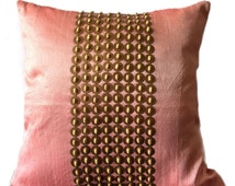 Blush Throw Pillow with Gold Sequin and  Wood beads Embroidery, 16x16 inch accent pillow, Beaded Pillow Cover, Couch Pillow case, home décor