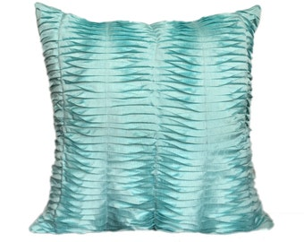 Aqua Blue Textured Pillow Pleated Blue pillow Pleated Aqua Blue Euro Sham Throws 14x14 16x16 18x18 20x20 22x22 24x24 26x26