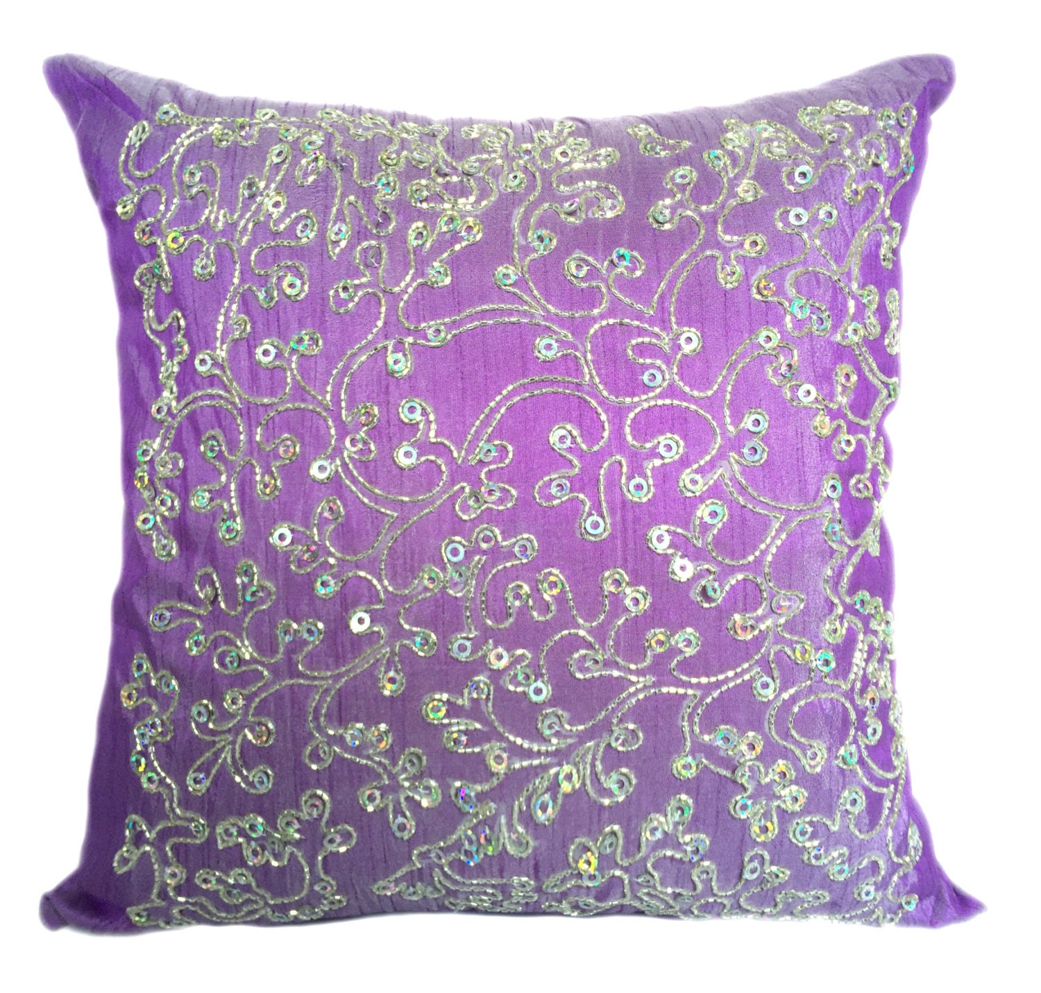 Violet Pillow Cover Violet Silver Decorative Pillow Cover