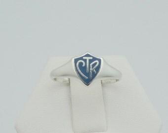 "Vintage Blue Enamel ""CTR"" Shield Sterling Silver Ring"
