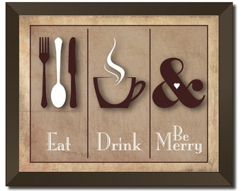 Customized Eat, Drink and Be Merry Rustic 11x14 Print, FREE SHIPPING (U.S.A.)