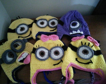 Baby-Adult Newborn-Adult Minion Inspired Beanie Hats with Earflaps, 6 Different Styles (Girls, Boys, Purple Minion, Crazy 3D with Tongue)