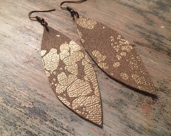 Gold Metallic Leather Earrings M // Dangle Earrings // Metallic Leather Earrings // give back jewelry // Gifts