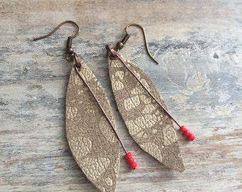 Gold Metallic Leather Earrings with Red Beads S // Dangle Earrings // Metallic Leather Earrings // give back jewelry // Gifts