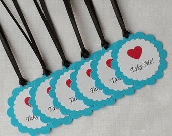 Alice in Wonderland 'Take Me!' Birthday Party Favor Tags, Set of 12